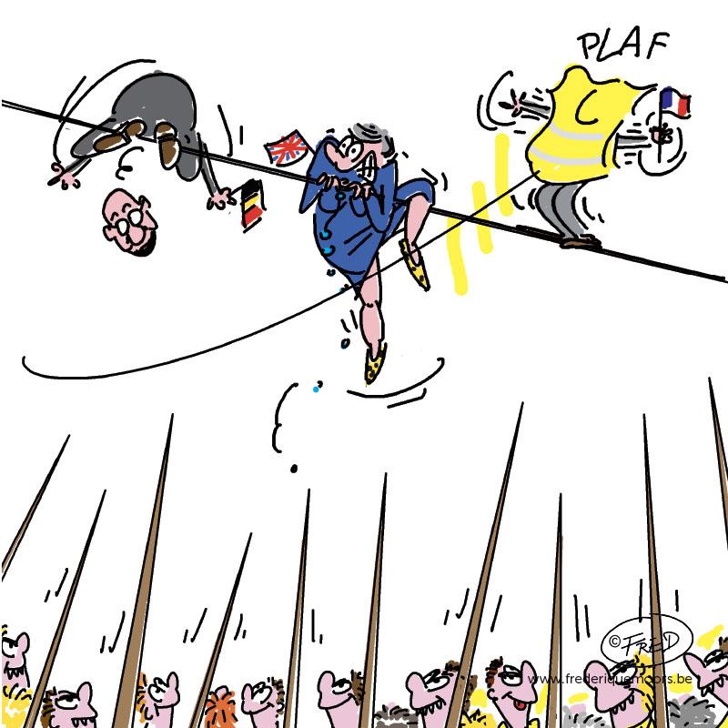 Gouvernement Michel, Theresa May, Emmanuel Macron en position délicate
