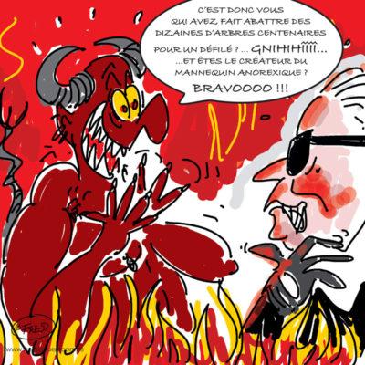 Dessin satirique sur le décès de Karl Lagerfeld