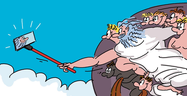 dessin humoristique de dieu faisant un selfie